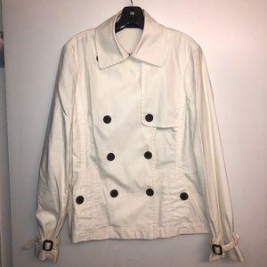 Banana Republic Short White Trench Jacket
